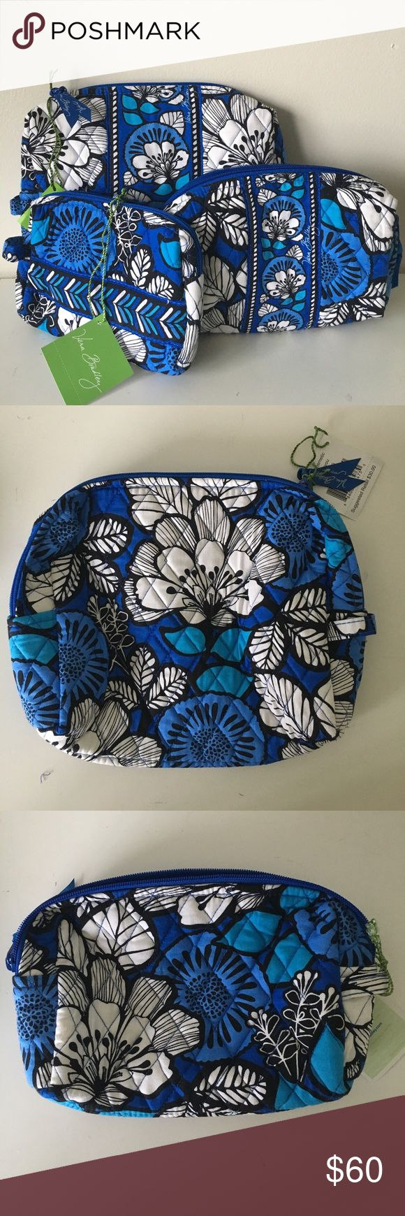 "Small Medium Large Cosmetic Bag Set • Brand: Vera Bradley • Pattern: BLUE BAYOU • NEW with original tags - NEVER used SIZES - • Small: 6.5"" h, 7"" w, 1"" d • Medium: 7"" h, 8"" w, 2.5 d • Large: 8"" h, 9"" w, 3"" d Vera Bradley Bags Cosmetic Bags & Cases"