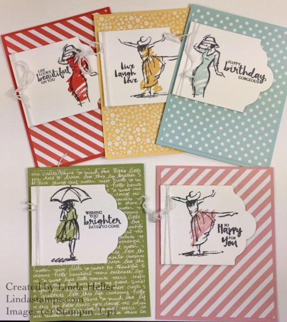 Stampin' Up! Beautiful You stamp-a-stack cards using Subtles designer paper from Stampin' Up