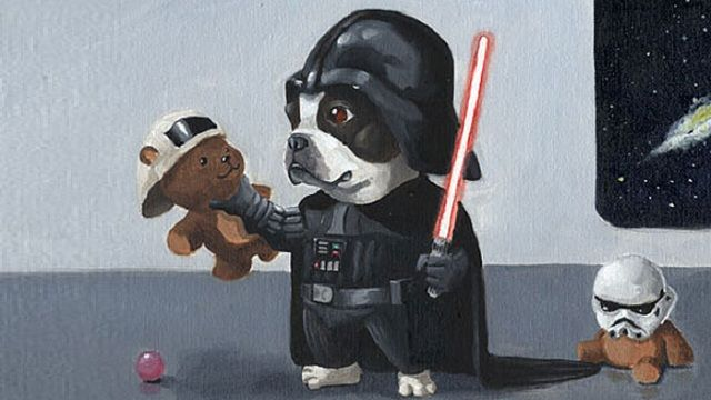 Star Wars and Dogs... via io9, The Most Adorable Dog Paintings Since They Invented Canine Poker