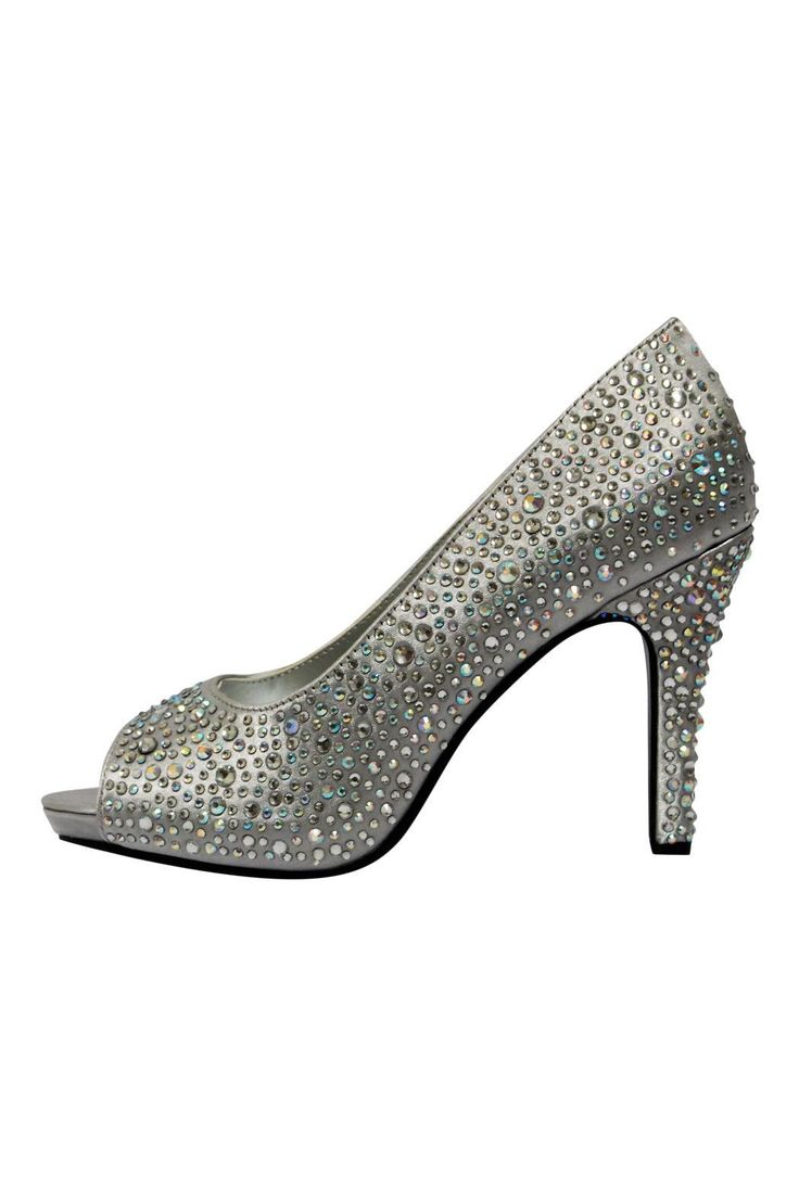 "Silver rhinestone peep toe high heel with wrapped platform and heel. Shine like a star with these gorgeous pumps.     All sizes are US.    Heel height: 4.5""; 1"" platform    Eliza Rhinestone Heel by Touch Ups. Shoes - Pumps & Heels - High Heel Branford, Connecticut"