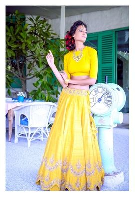 Light Lehengas - Bright Yellow Lehenga | WedMeGood Bright Yellow Simple Lehenga, Plain Closed Neck Quarter Sleeves Blouser and Silk Yellow Lehenga with Sequin Belt and Sequin Work on the bottom. #wedmegood #lehenga #yellow #sequin