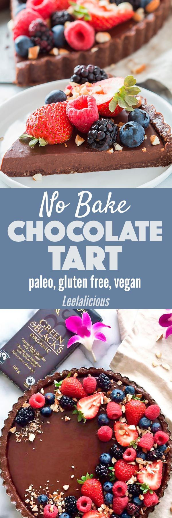 This luscious No Bake Chocolate Tart is vegan, gluten free, and paleo friendly. It makes a perfect healthier treat that won't fail to impress! Sponsored | Green & Black's Organic | raw | dessert | healthy