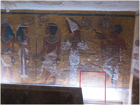 """North wall. Proposed doorway.  Behind Painting of Ritual """"Opening of the Mouth""""  Rectangular shape of Altar is Hidden Doorway!?"""