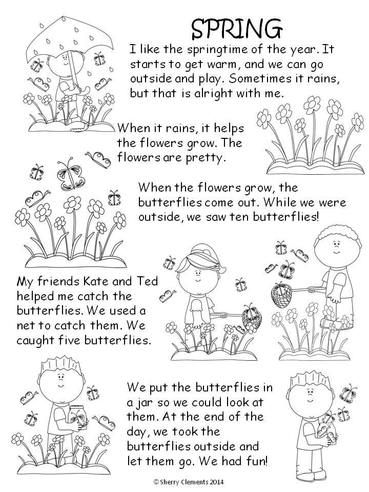 SPRING READ AND WRITE: CUTE SHORT STORY with related fill in the blanks to check for comprehension (Kindergarten & 1st grade reading) $