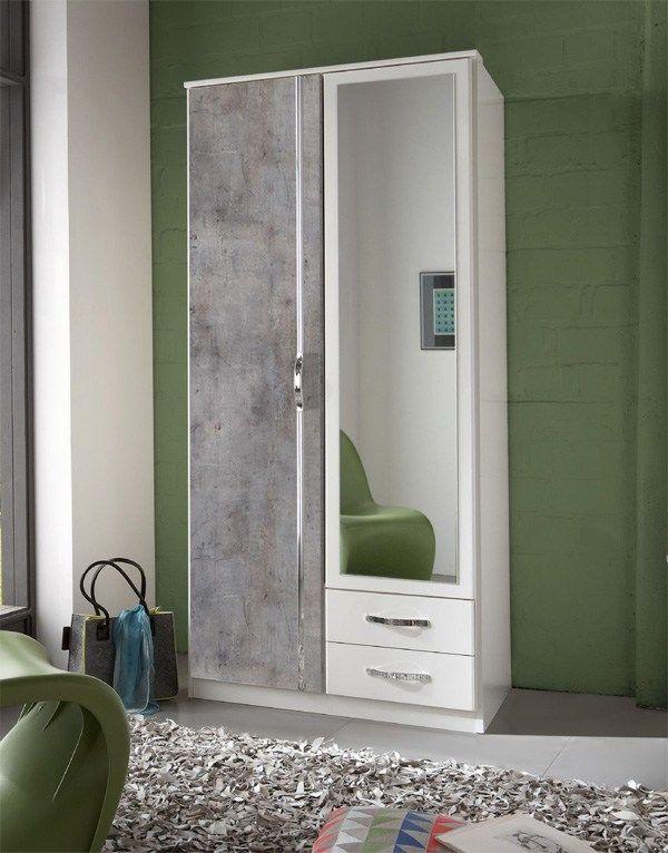 Concrete Grey And White 2 Door 2 Drawer German Wardrobe White Gloss Bedroom Mirrored Wardrobe Sliding Wardrobe