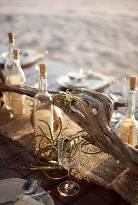 Driftwood and bottle table scape idea