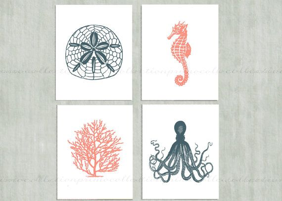 Nautical Sea Life Set Of 4 Wall Art Prints Navy Blue And Coral Octopus