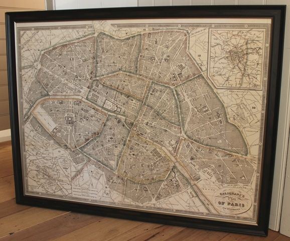 Travel back in time with this exquisite Paris vintage style map by artist Antonio Galignani. This licensed print is called 'Plan de Paris et Environs' and originates from 1865.