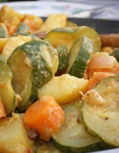 NGRÉDIENTS 3 courgettes 6 carottes 10 cl de lait de coco 3 échalotes 2 gousses d'ail 1 oignon 2 grosse cuillère(s) à soupe de sauce au curry 1 càc de coriandre en poudre 1 càc de gingembre 1 cuillère(s) à soupe d'huile d'olive sel et poivre du moulin