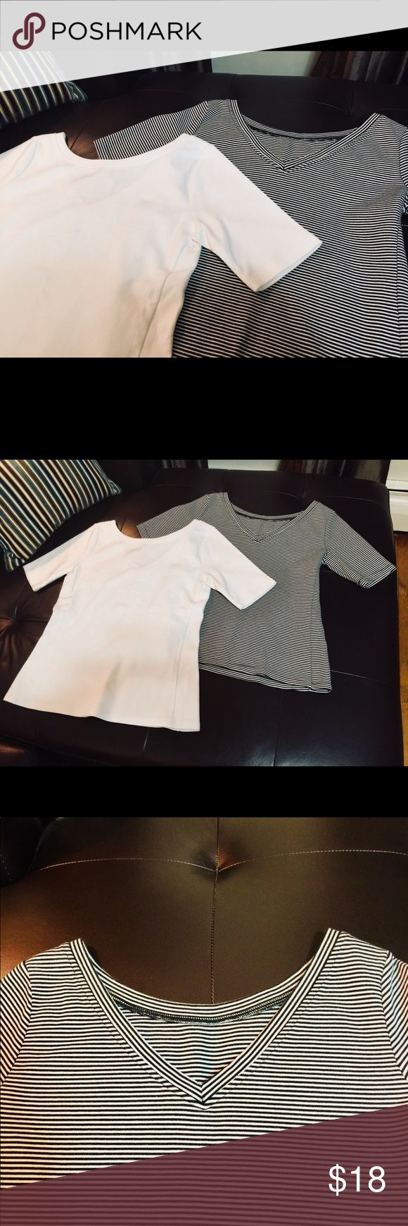 Two GAP Ponte V-Back Tees - white & striped Two for the price of one! + Versatile layering tees in a heftier fabric -great for cooler weather! + 59% cotton, 39% modal, 2% spandex + Straight silhouette with an easy, relaxed fit; hits at the hip + V-back; can also be worn as a v-neck in front + Mid-arm short sleeves + From Fall/Winter 2017  Adore these tees but prefer a snugger fit Labeled as X-Small, but fits like an loose Small  - White tee: NWOT, never worn - Striped tee: Excellent…