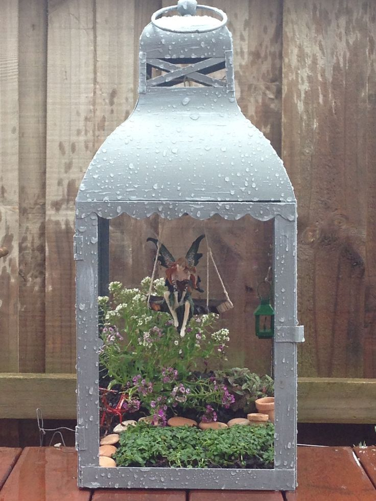 Upcycle an old lantern into a magical little fairy garden.  By Fairytale Gardens
