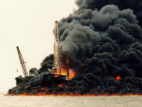 well blowout | ... oil rig blowout, truck rig. Temsah offshore oil rig blowout, Egypt