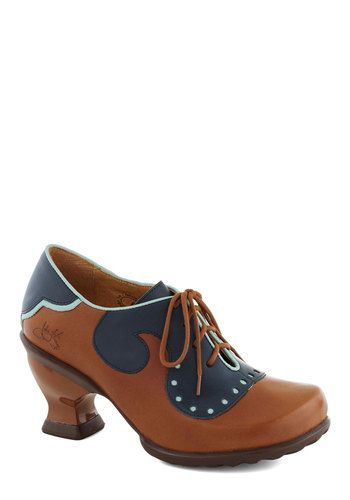 John Fluevog Academia Nut Heel by John Fluevog - Brown, Blue, Steampunk, Mid, Lace Up, Leather, Best, Work, Vintage Inspired, Scholastic/Col...