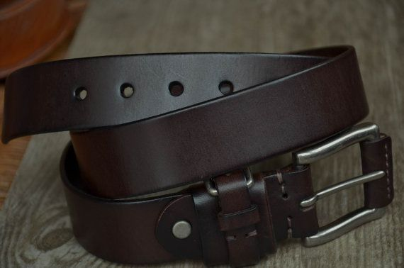 Men's Genuine Leather Belt Dark Brown Cowhide Leather Belt Strap Classic Leather Belt by SherryJewelry, $25.00