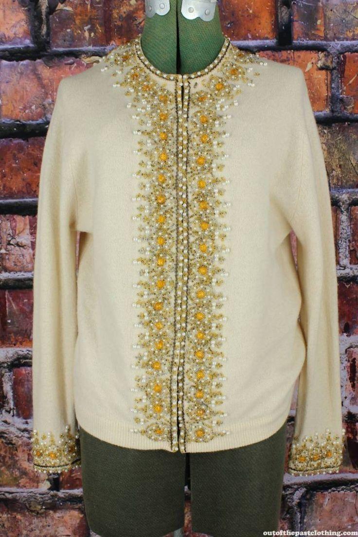 Vintage 1960s Angora Beaded Sweater