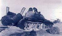 Battle of Longewala - A burnt-out Pakistani T-59 tank hit during the battle.