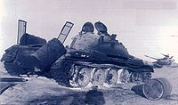 Battle of Longewala - A burnt-out Pakistani T-59 tank hit during the battle.