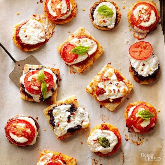 Topped with melted mozzarella, roma tomatoes, and fresh herbs, these colorful pizza bites will be gobbled up by party guests.