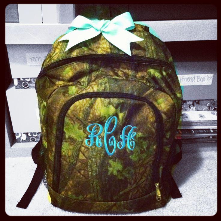 Camo monogramed backpack