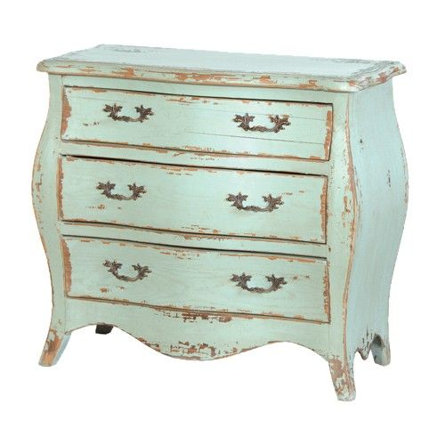 The Etienne petit chest of drawers is based on a classical antique design. It features 3 deep drawers, and a heavy distressed turquoise finish. It looks stunning when matched with the rest of our Etienne collection.