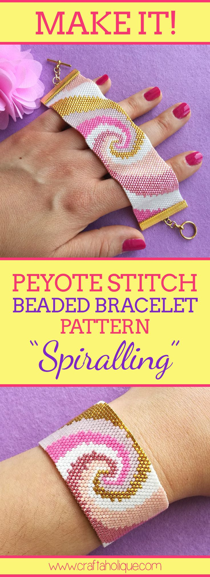 With its gorgeous colours of pink, gold and white and contemporary spiral design, there's something rather mesmerizing about this peyote bracelet pattern!