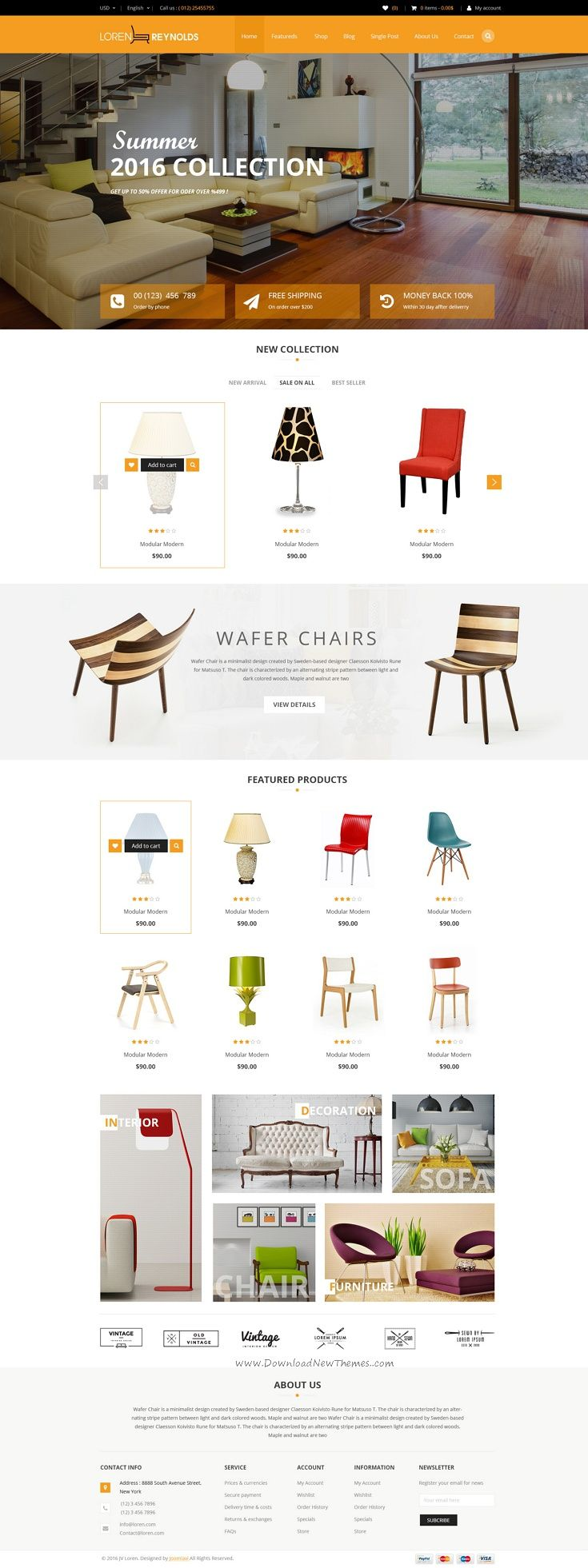 Loren is Multipurpose PSD Template with awesome design ideal for Creative eCommerce website. #Interior #furniture #shop