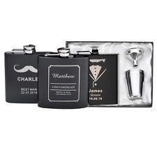 3 Set X Personalised Engraved 6oz Hip Flasks Wedding Birthday Gift box Favor
