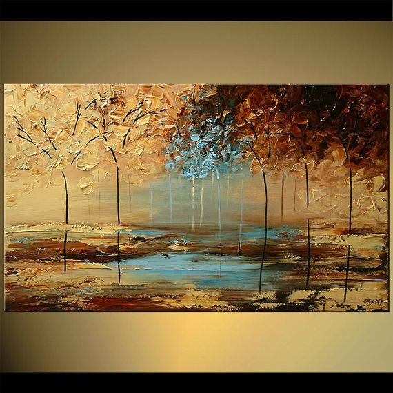 "Palette Knife Painting Abstract Modern Landscape Blossoming Trees Acrylic Painting by Mamadou – Custom Made – 60 ""x 36"""