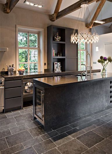 Dramatic Dark Floors Here Belgian Bluestone Available At Decorative Stone Kitchen Floorkitchen
