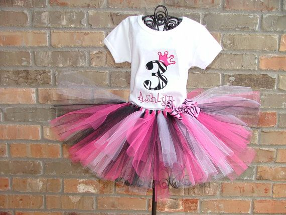 ~~ linzey would freak out!! ~~ Zebra Print Birthday Number Crown Tutu Outfit by TickleMyTutu, $39.95