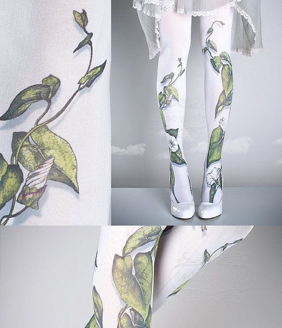 15%OFFendsJAN31- Tattoo Tights -  Climber Plant white one size full length closed toe pantyhose tattoo socks ,printed tights