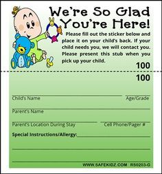 Church Nursery Baby Information Form Google Search