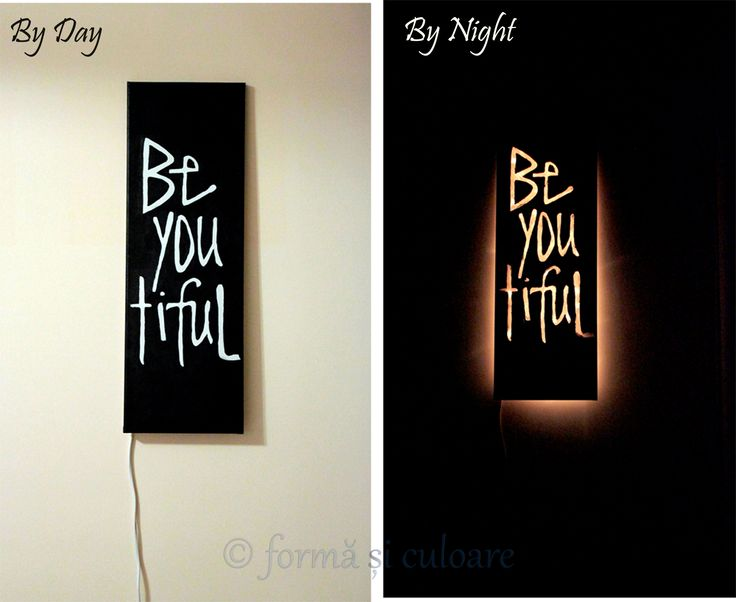 What if? Yes, what if you can use your picture in the wall as a lamp? And what if the picture smiles and motivates you and guides you in the dark? Hmm….I can tell you that it looks fantastic. Is my first project like this, and for sure I will make others because is just epic.  Hand painted canvas. Size: 30 * 60 cm.  Lighting: light tube. More photos here: http://formasiculoare.wordpress.com/2014/11/05/be-you-tiful/
