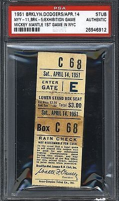 1951 Yankees Dodgers Ticket Stub Apr 14 Mickey Mantle's 1st game in NYC! Pop 3!