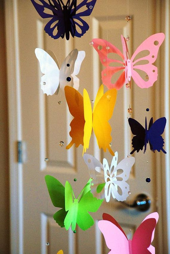 3D paper butterfly mobile baby nursery mobile baby shower yellow purple pink green and white