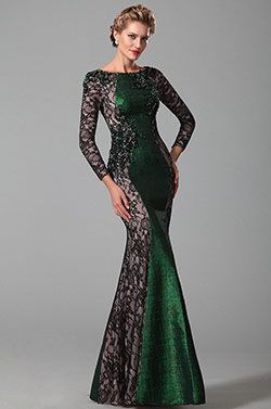 Long Lace Sleeves Mother of the Bride Dress With Beadwork (26151104)