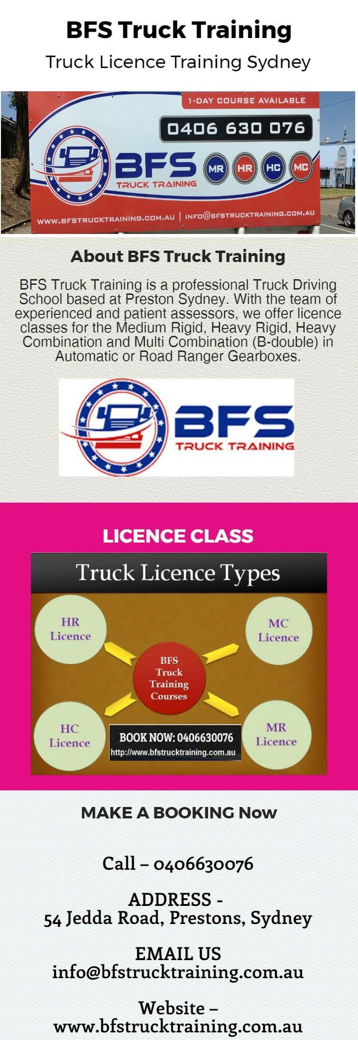 Browse BFS Truck Training for HR Licence, HC Licence, MC Licence, MR Licence and all other higher class truck licence in Sydney. We have professional instructor to provide you best truck licence training in friendly behavior. Contact us today for more details at  - 0406630076