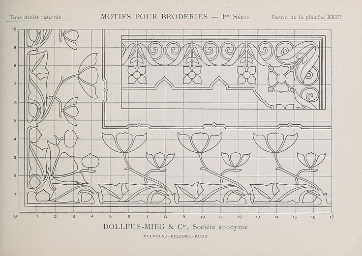 "Embroidery pattern by Thérèse de Dillmont (1846-1890), who wrote books on needlework and was ""one of the most important pioneers in the international and multicultural enterprise of hobby needlework in the late nineteenth century"" (https://en.wikipedia.org/wiki/Th%C3%A9r%C3%A8se_de_Dillmont). More from this book: https://commons.wikimedia.org/wiki/Category:Motifs_pour_broderies_(DMC)  Design: https://commons.wikimedia.org/wiki/File:Motifs_pour_Broderies_-_1re_s%C3%A9rie_-_Planche_23.jpg"