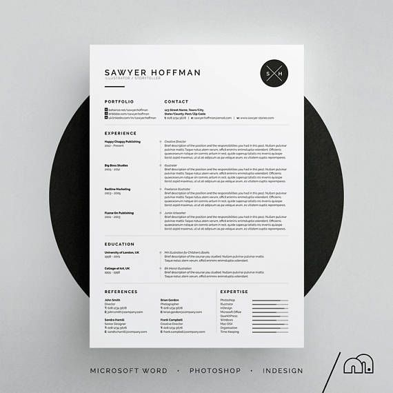 CV Template - Resume Template - Sawyer Resume/CV Template | Word | Photoshop | InDesign | Professional Resume Design | Cover Letter | Instant Download