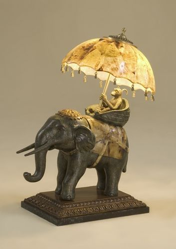 decorative elephant lamp, tiger penshell accents & umbrella, brass monkey, wood carved base
