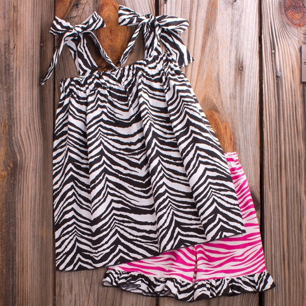 Lolly Wolly Doodle Black Hot Pink Zebra Faith Short Set 6/6: Pink Zebra, Sewing2 Pieces