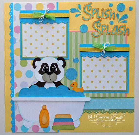 Premade Scrapbook Page Layout Paper Piecing 12x12 Bath Boy Girl Bear Baby Handmade Elite4U