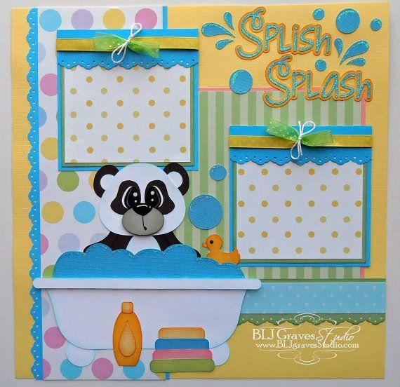 Premade Scrapbook Page Layout Paper Piecing 12x12 Bath Boy Girl Bear Baby Handmade Elite4U