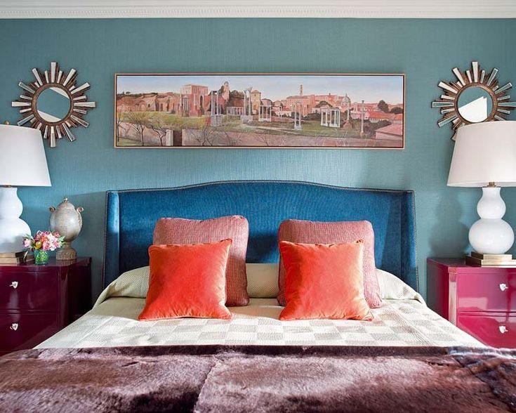 Cabecero tapizado en chenilla azul | Revista Nuevo Estilo.