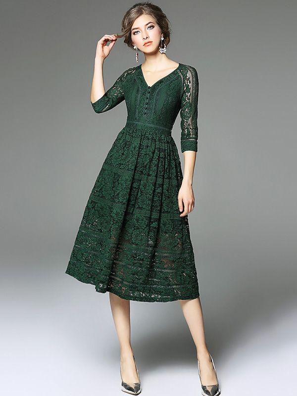 78ec58e56e Green V Neckline Hollow Out Lace Dress in 2019 | S T Y L E | Green ...