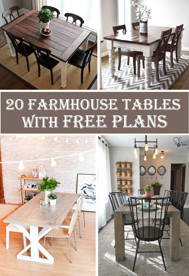 20 Free DIY Farmhouse Table Plans