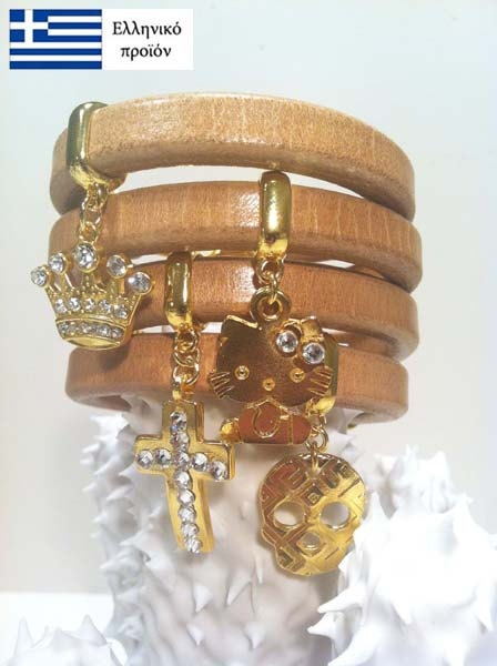 Bracelets made by real Greek leather with gold clasps and gold charm decorated with Swarovski beads.