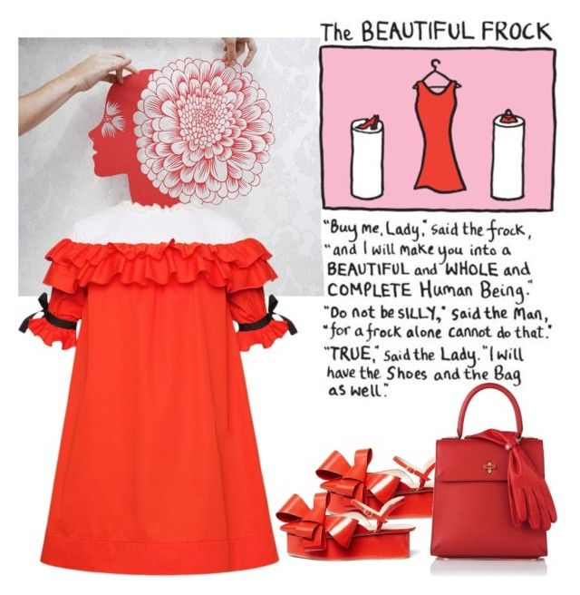 """""""Red Frock"""" by petalp ❤ liked on Polyvore featuring art, red and dress"""