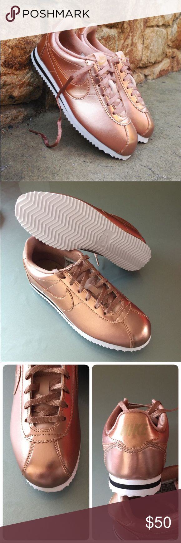 🦃New🦃 NIKE rose gold Cortez SE GS~ 5.5Y brand new no lid size 5.5Y fits women's 7.5 metallic red bronze comes from smoke free home guaranteed 100% authentic N1700020 Nike Shoes Sneakers