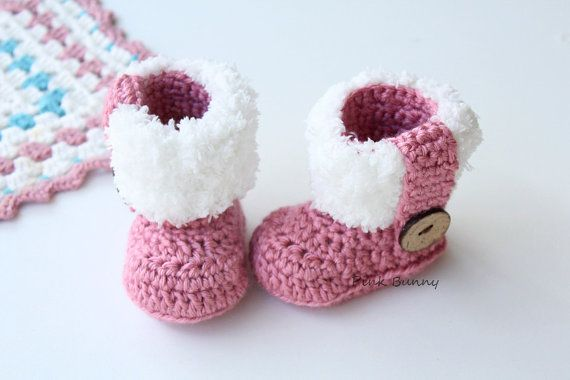 Cute Soft Fur Flap Crochet Baby Booties / Boots by PinkkBunnyy, $21.00